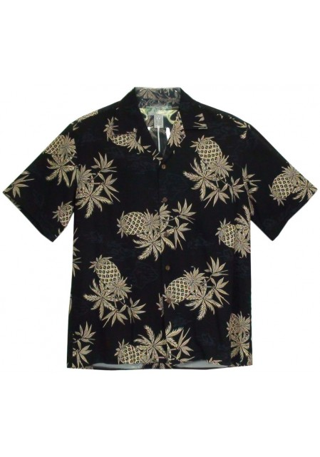 Гавайская рубашка Pineapple Map Black