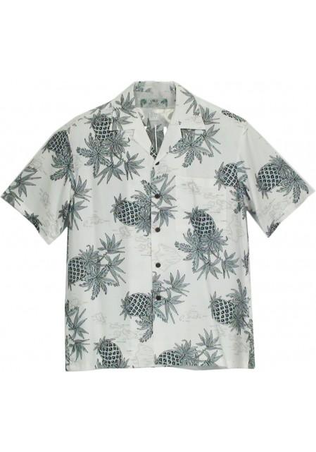 Гавайская рубашка Pineapple Map White